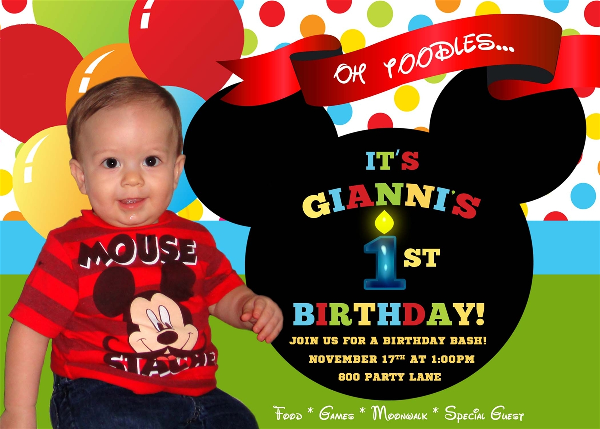 Mickey Mouse Clubhouse First Birthday Invitation Wording