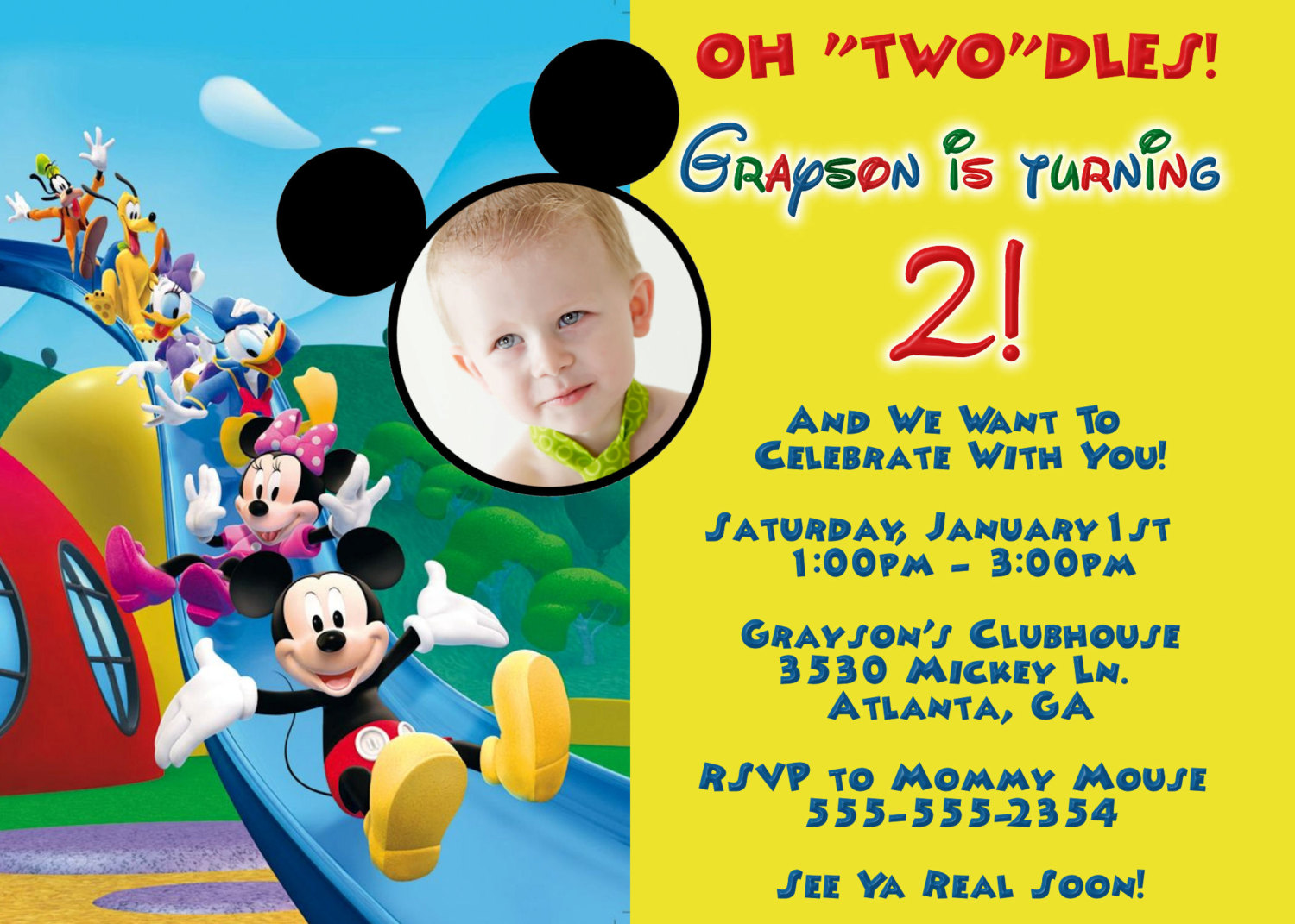 Mickey Mouse Clubhouse Party Invitations Free - Mickey Mouse ...