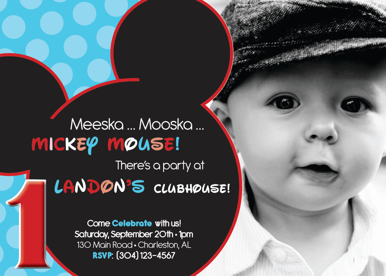 Mickey Mouse First Birthday Invitations Cards Ideas With Mickey