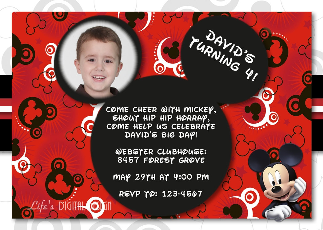 Mickey Mouse First Birthday Party Invitation Wording – Birthday