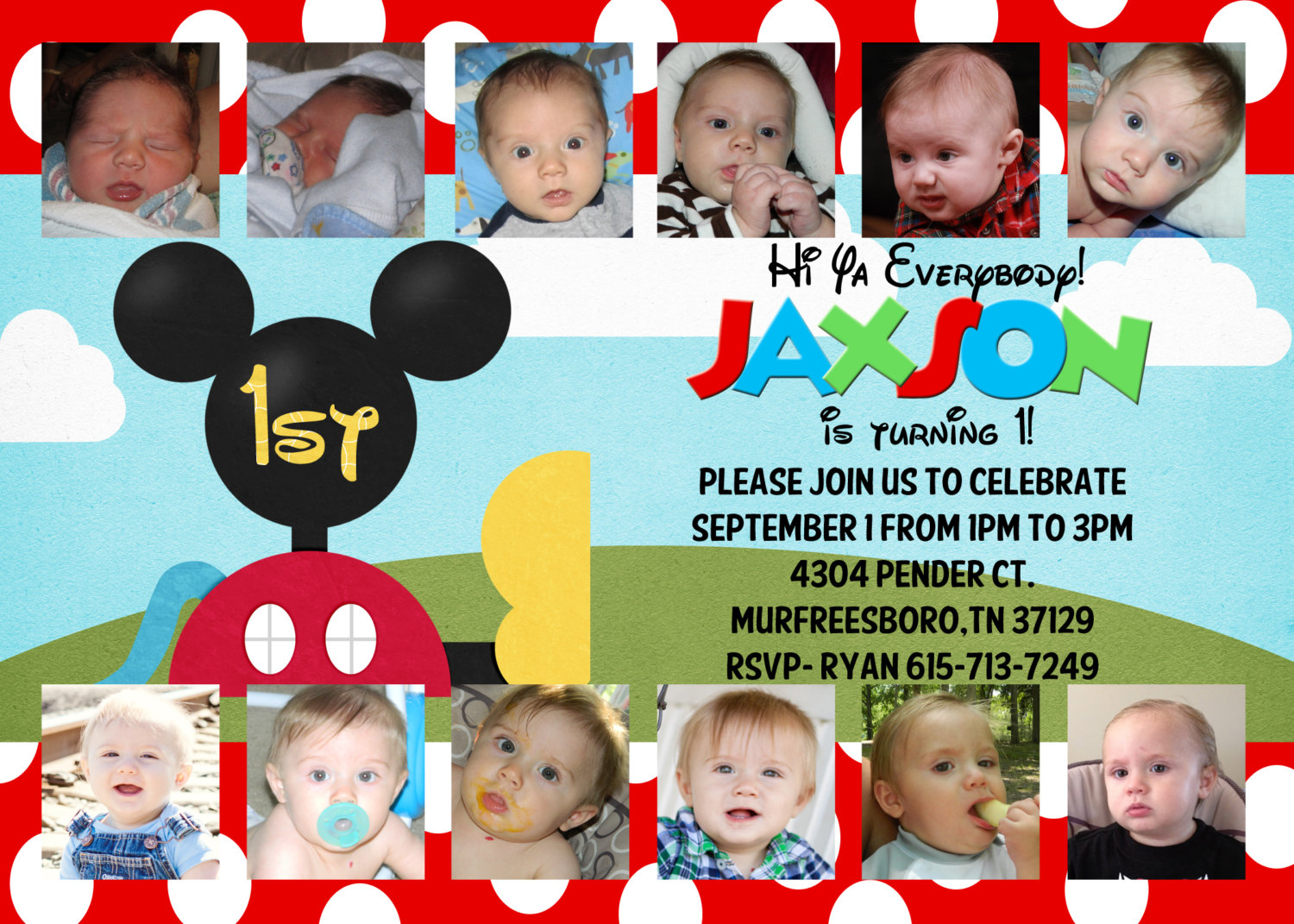 Mickey Mouse Invitation 1st Birthday Customized By Andyneal331