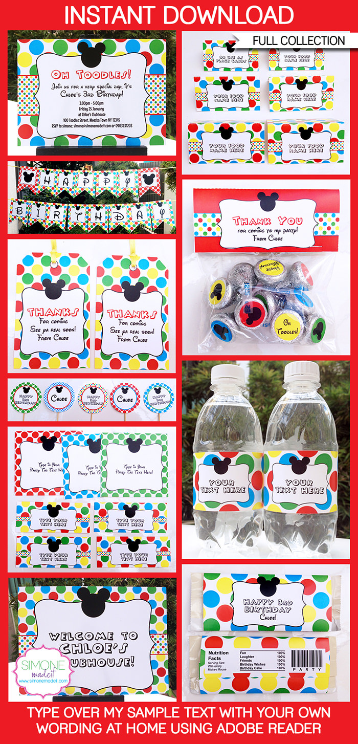 Mickey Mouse Party Printables, Invitations & Decorations