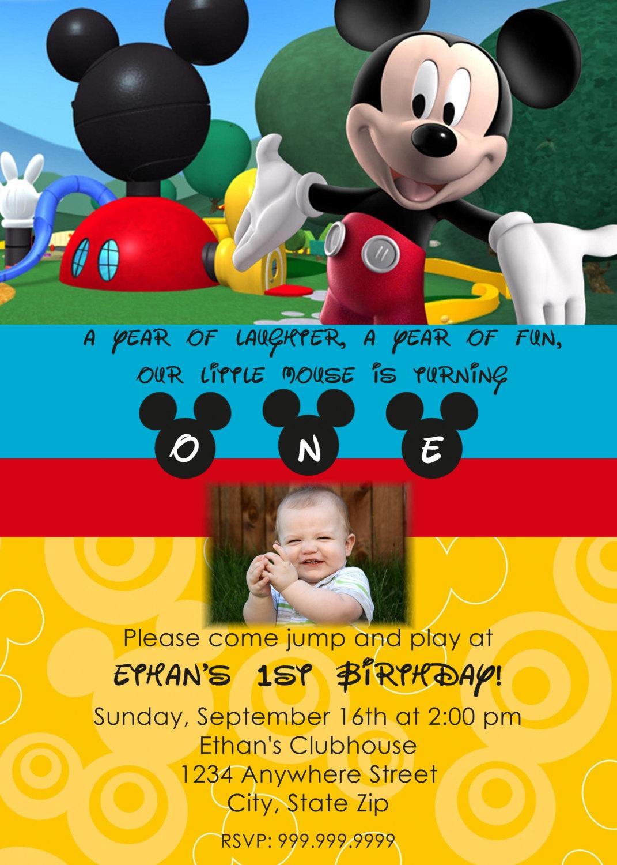 Mickey Mouse Photo Birthday Invitations