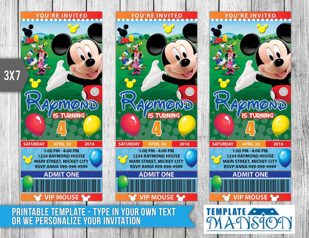 Mickey Mouse Ticket Invitation, Invitation, Psd By Templatemansion
