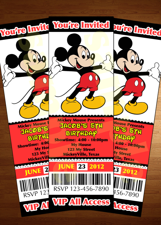 Mickey Mouse Ticket Invitation Printable Diy By Perfectpartyparade