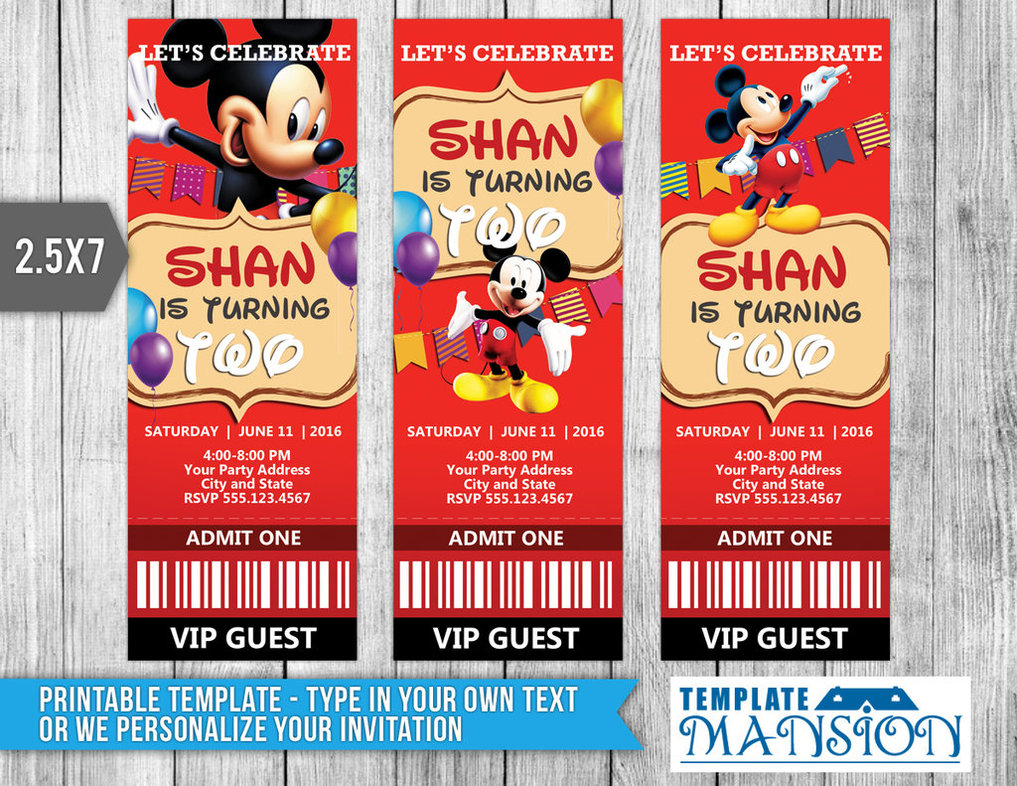Mickey Mouse Ticket Invitation Template, Psd, Diy By