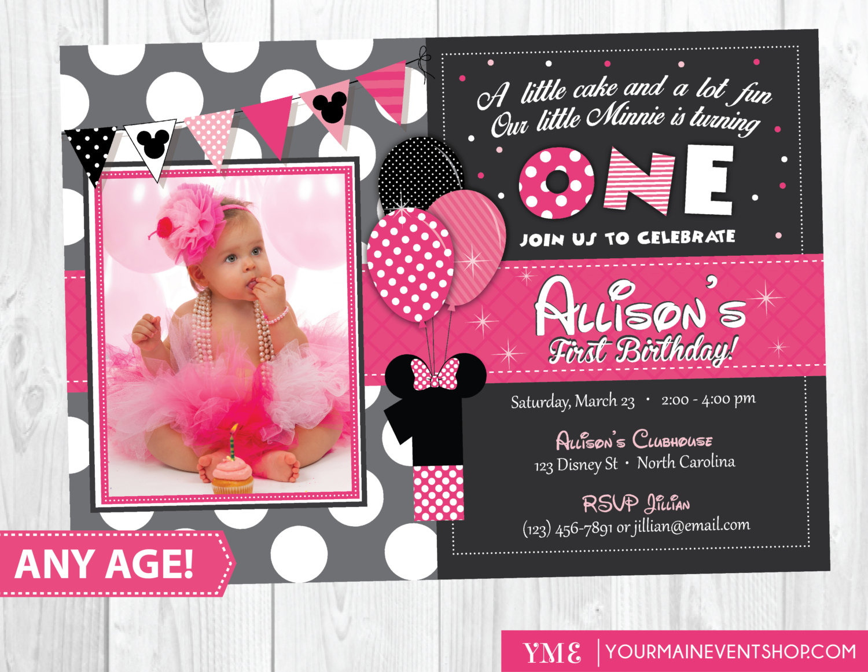 Minnie Mouse Birthday Invitation Minnie By Yourmaineventprints