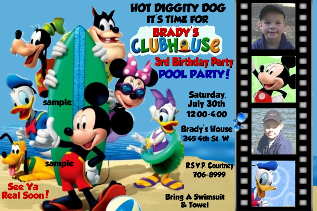 Pool Party Mickey Mouse Clubhouse Invitations By Montanalisa
