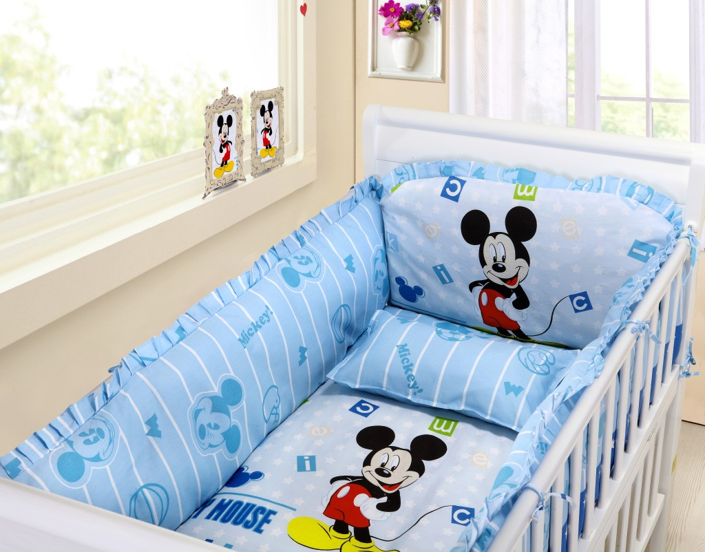 Baby Bedding Crib Cot Sets 9 Piece Mickey Mouse Theme Baby Bedding