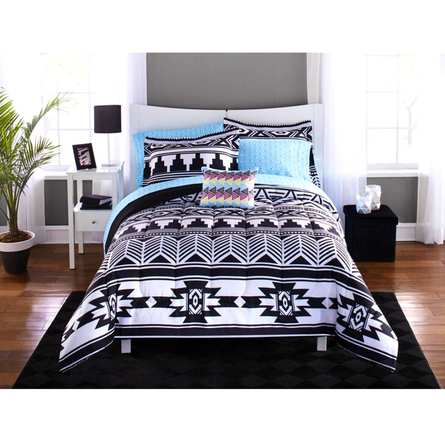 Bedroom  Black And White Comforter  Fetching Mainstays Tribal