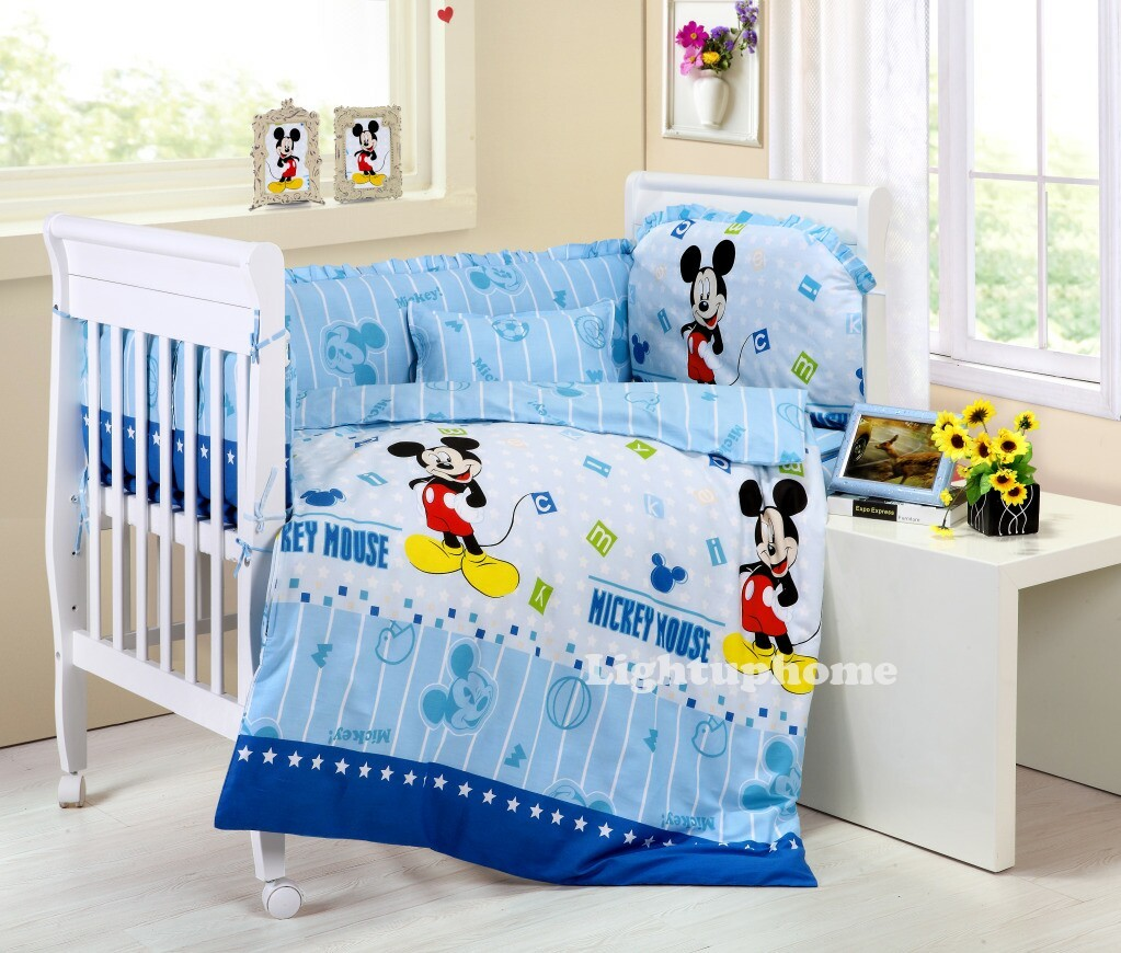Blue Mickey Mouse Crib Bedding
