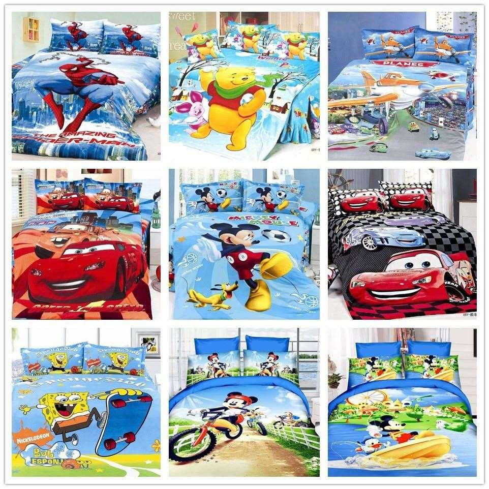 Boys Sports Car Cartoon 3d Bedding Set Christmas Gifts Twin Bed