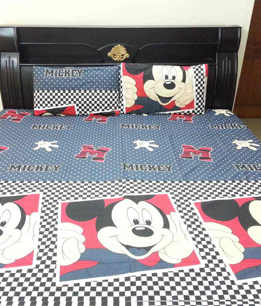 Kaksh Mickey Mouse Double Bed Sheet With 2 Pillow Covers
