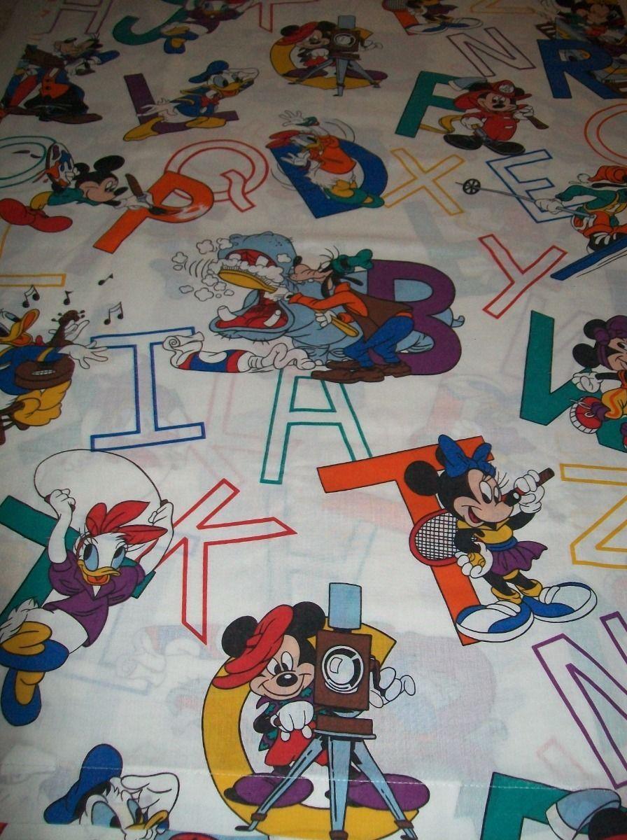 Mickey Mouse Disney Twin Single Flat Bed Sheet Abc Fabric Goofy