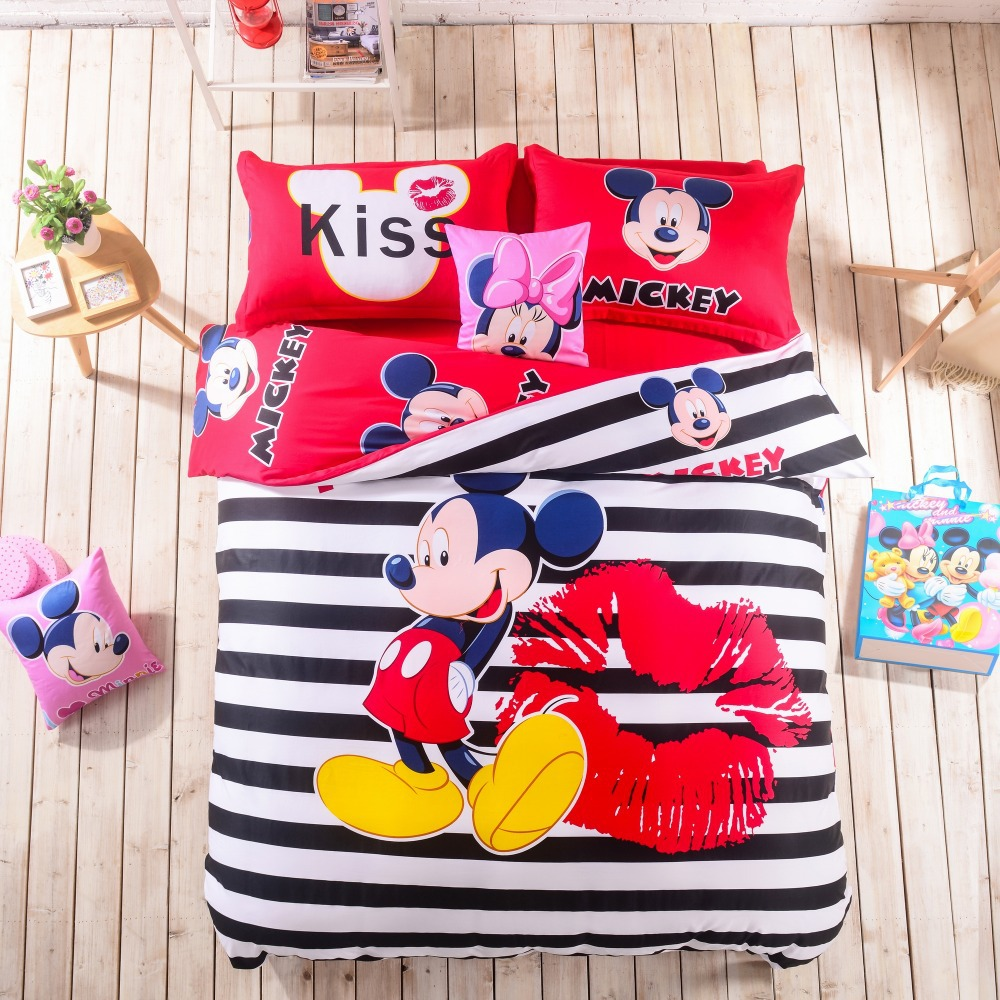 Online Shop Kiss Mickey Mouse King Queen Full Bedding Set Cotton