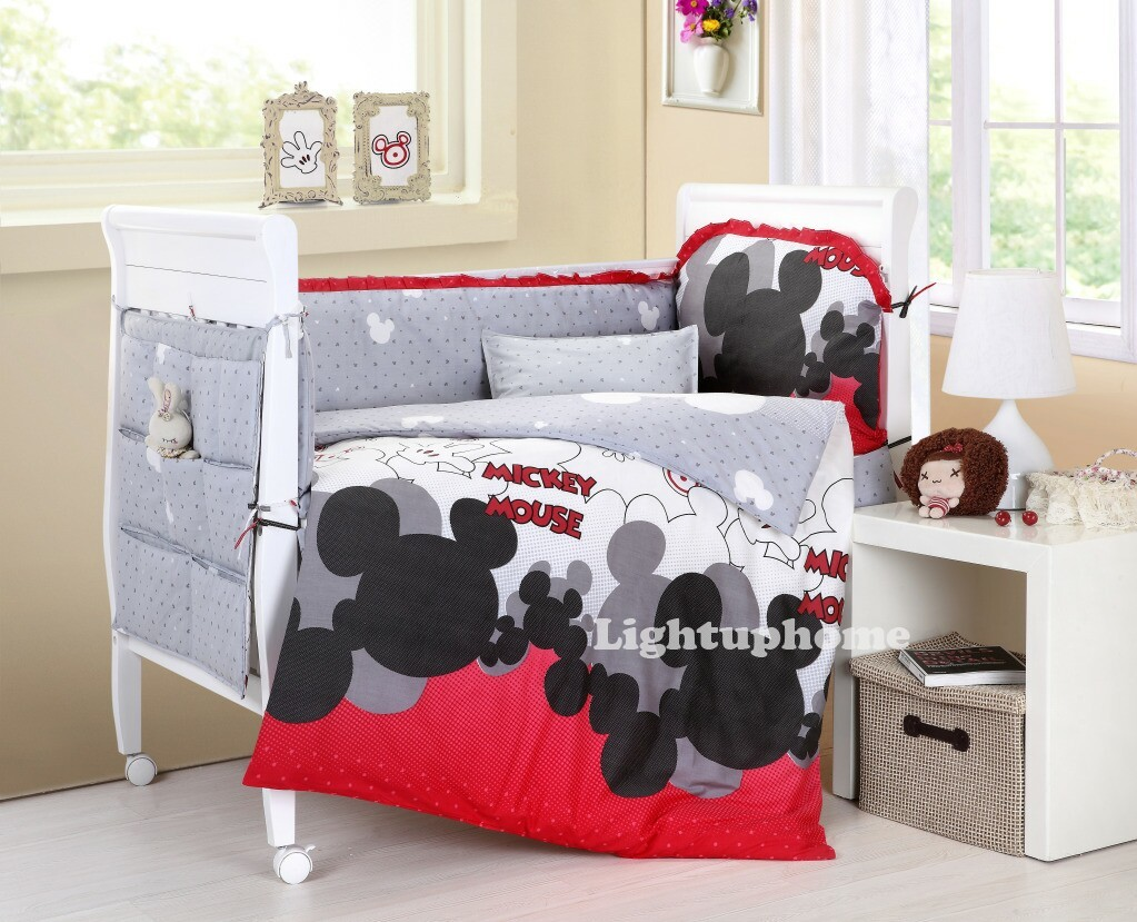 Red And White Mickey Mouse Crib Bedding