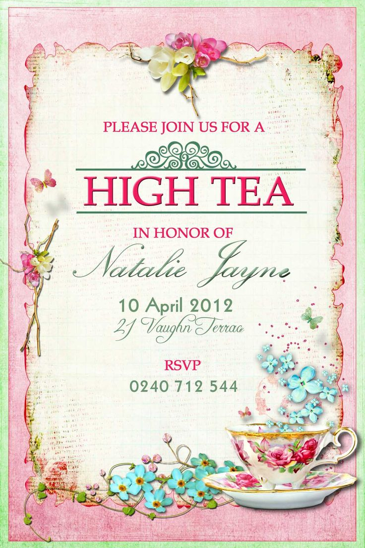 High Tea Party Invitation Wording