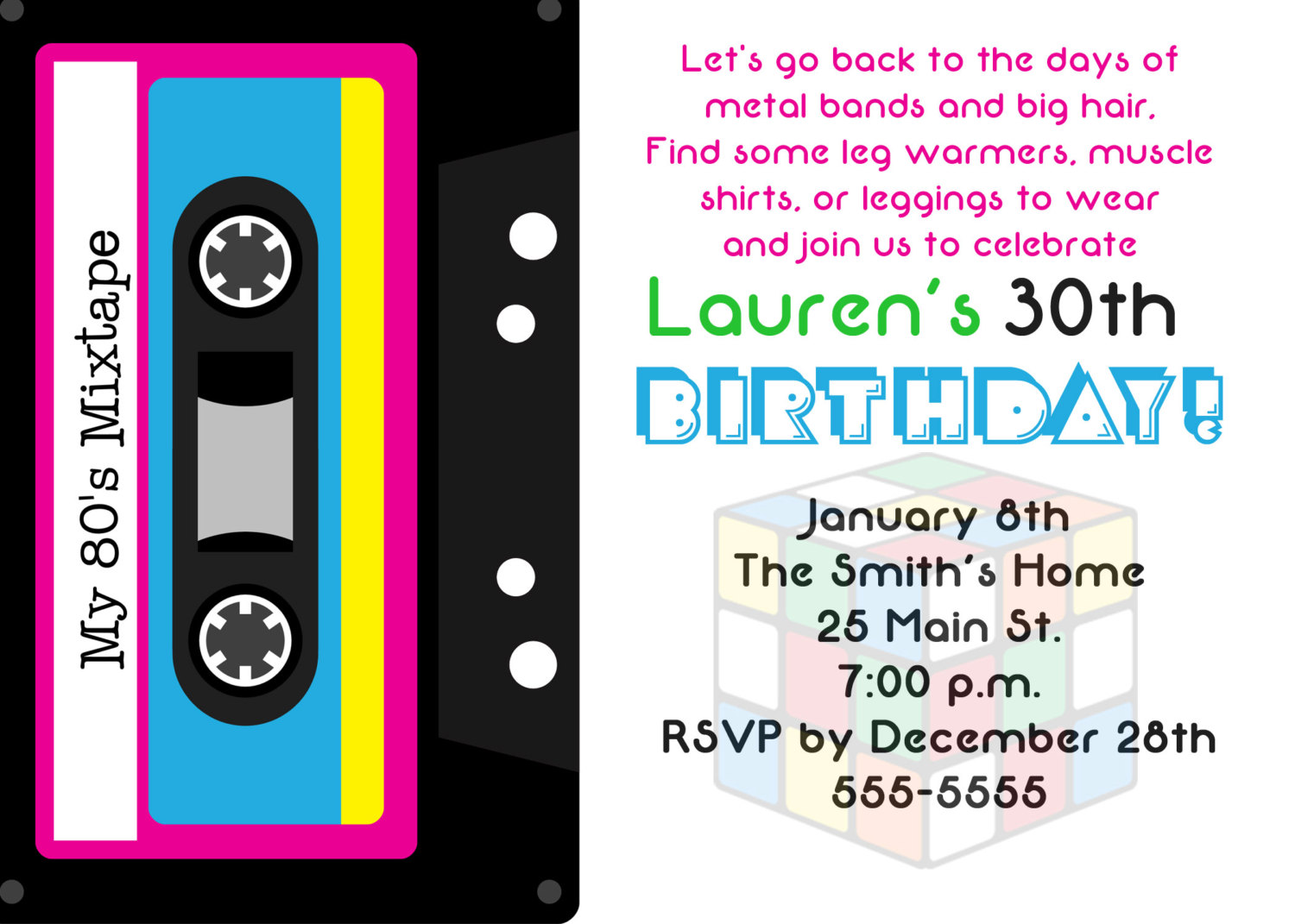Eighties Party Invitations - Mickey Mouse Invitations Templates
