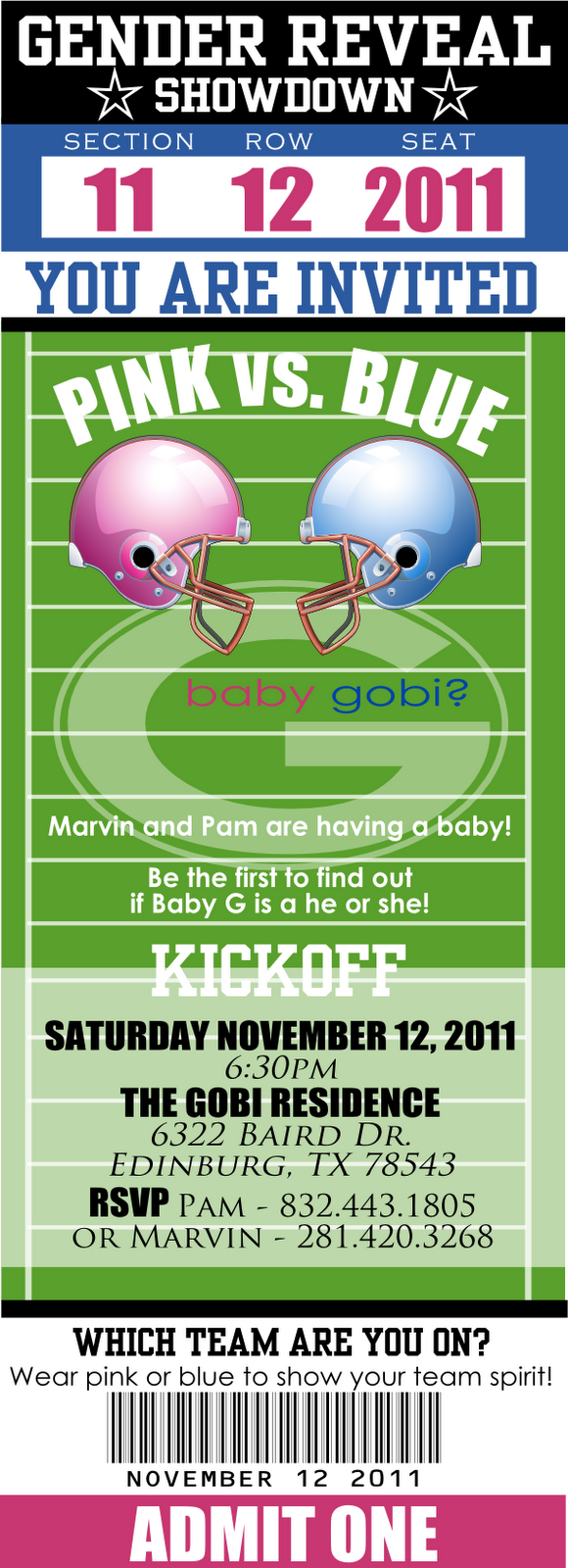 Football Themed Gender Reveal Party Invitations - Mickey Mouse ...