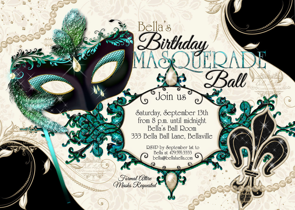 Masquerade Theme Party Invitations - Mickey Mouse Invitations ...
