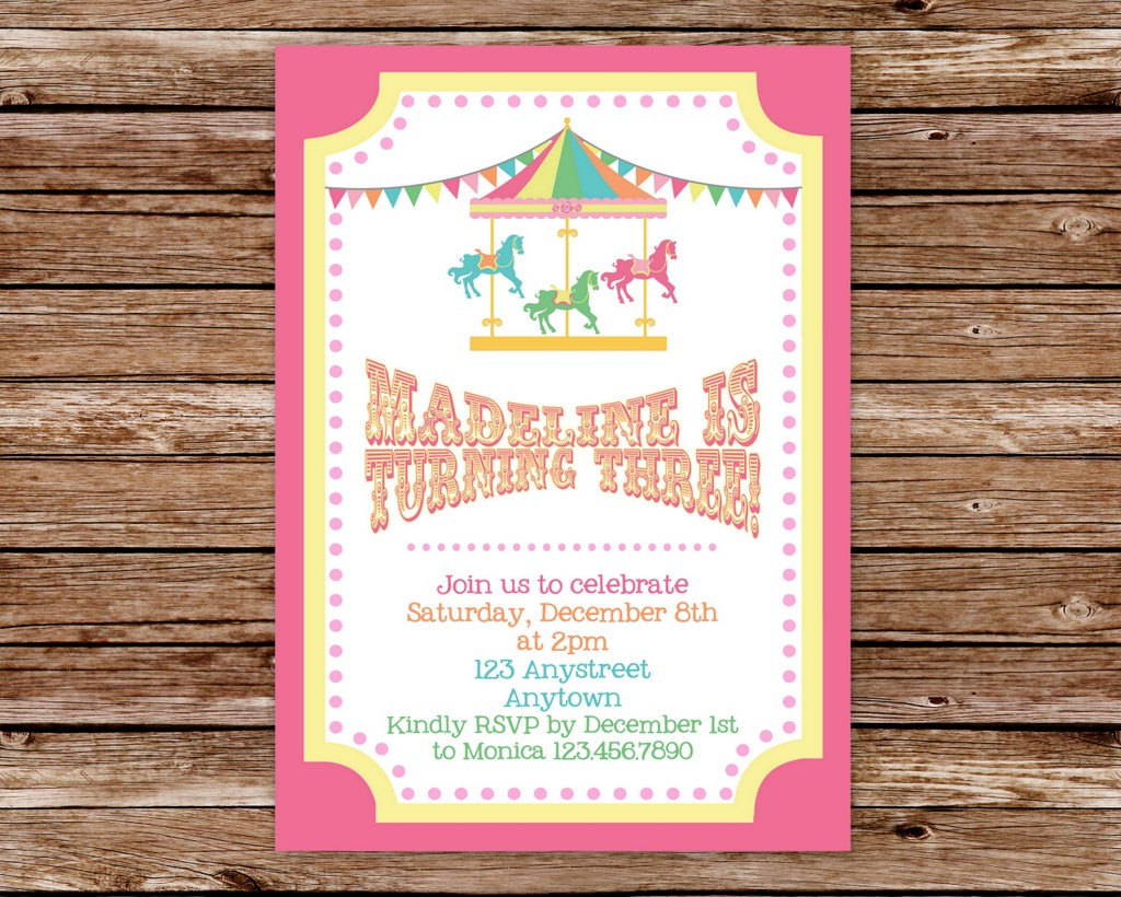 Carousel Birthday Party Invitations Mickey Mouse Invitations