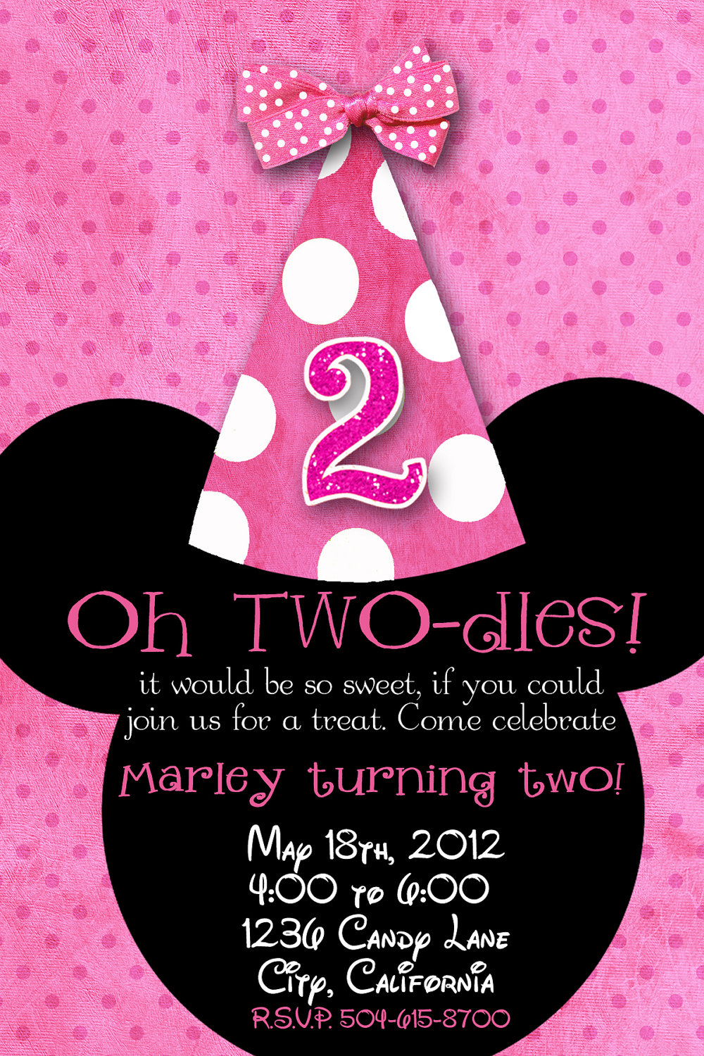 Minnie Mouse Birthday Party Invitations - Mickey Mouse Invitations ...