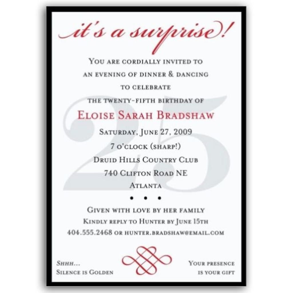 25th Birthday Party Invitation Wording