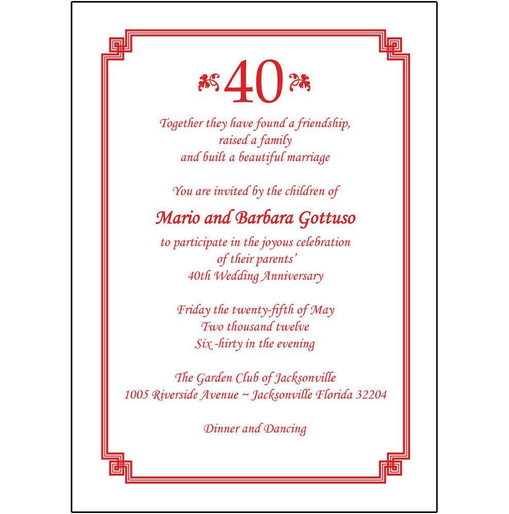 40th Anniversary Invites   40th Anniversary Invitations In Spanish