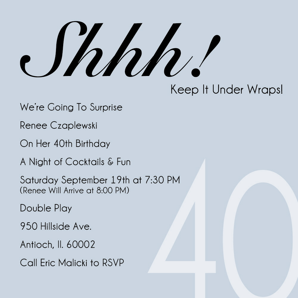 40th Birthday Party Invitation Wording