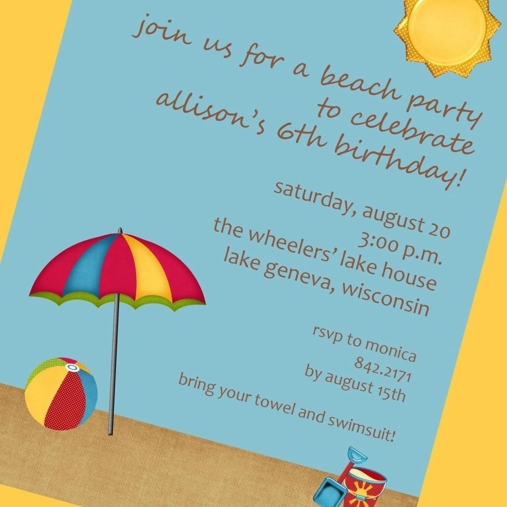 Beach Themed Party Invitations - Mickey Mouse Invitations Templates
