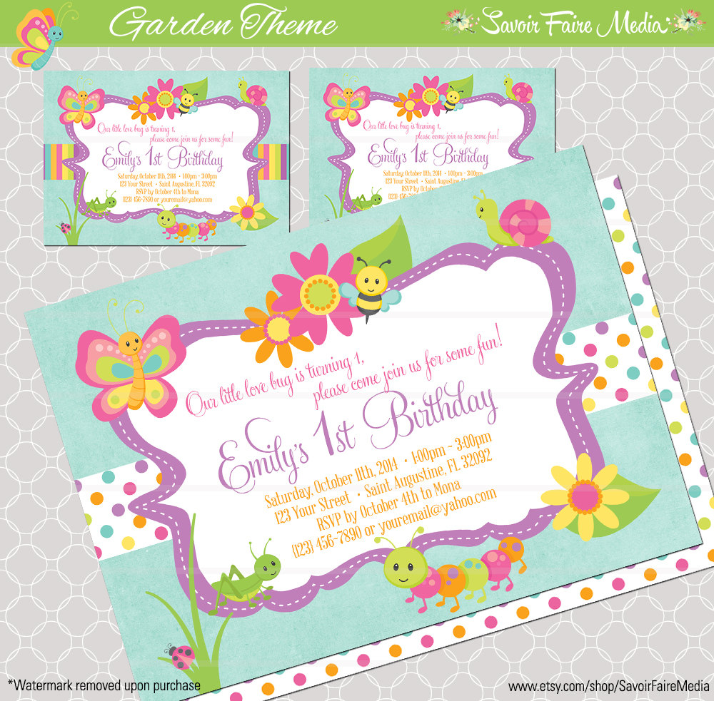 Bug Insect Themed 1st Birthday Party Invitation By Sfmprintables