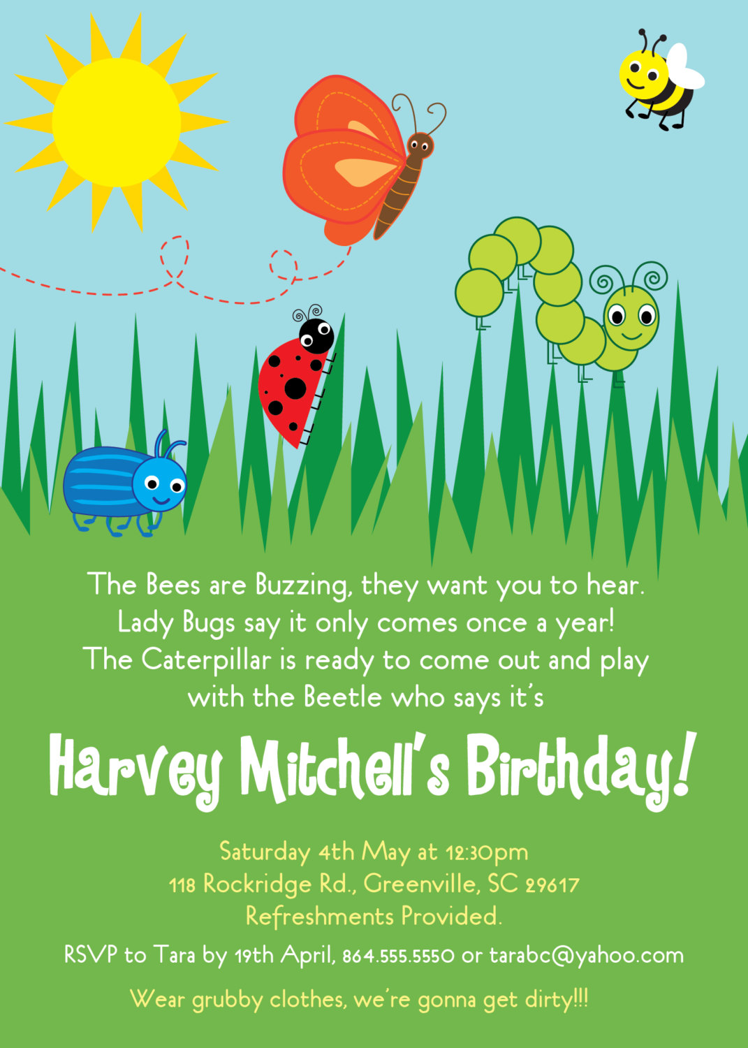 Bug Insects Birthday Party Invitations, Summer, Butterfly, Bee