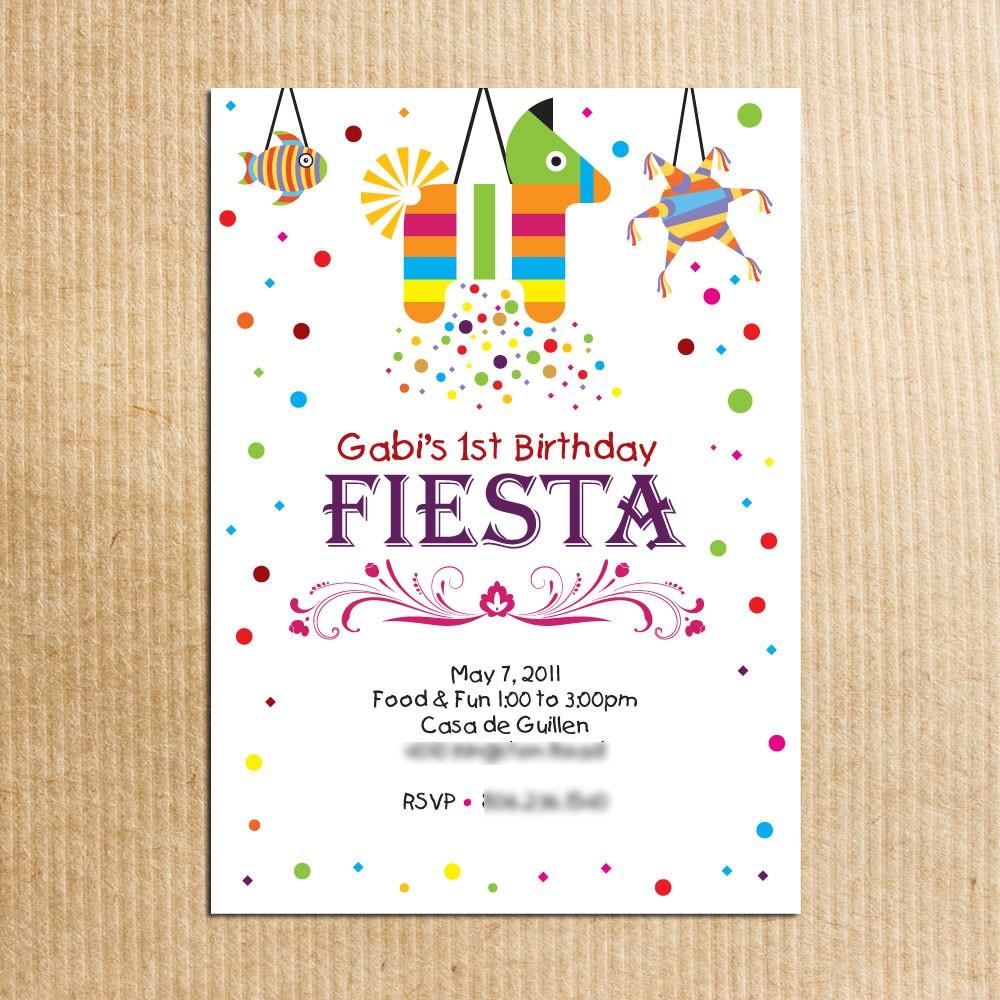Childrens Fiesta Birthday Party Invitation Stationery By By
