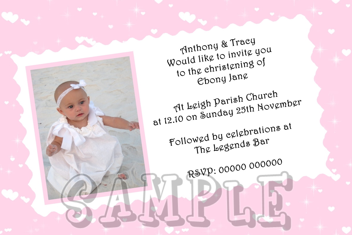 Christening Invitations Boys Or Girls Pink Or Blue Own Photo