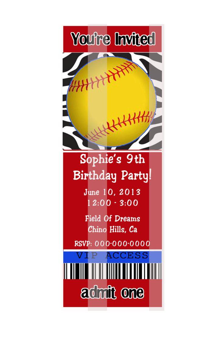Custom Softball Party Invitations