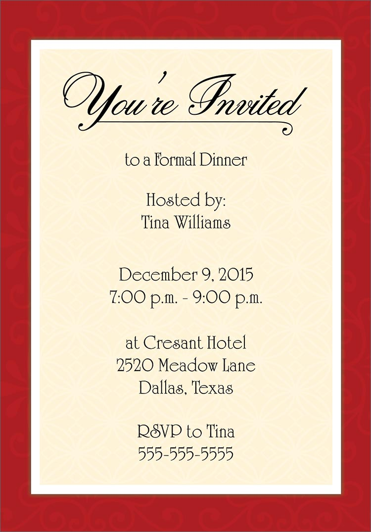 Formal Dinner Party Invitation Wording - Mickey Mouse Invitations ...