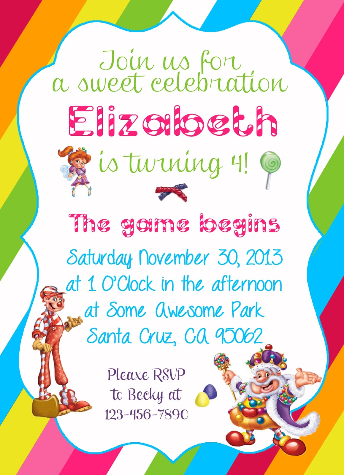 Diy Design Den  Free Candyland Themed Party Printable Invitation