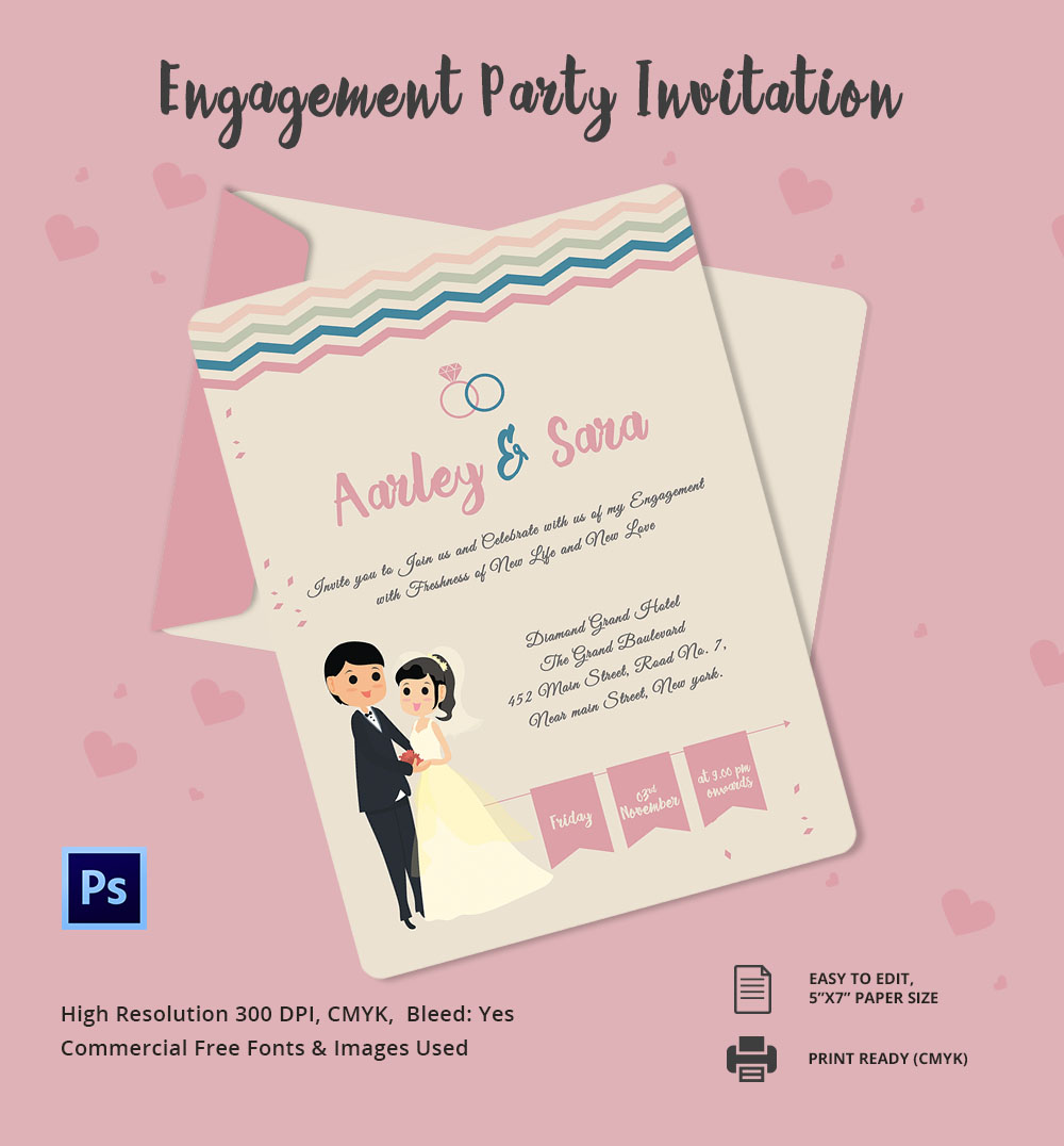 Free Printable Engagement Party Invitations: Engagement Invitation Template  ...  Free Engagement Invitations