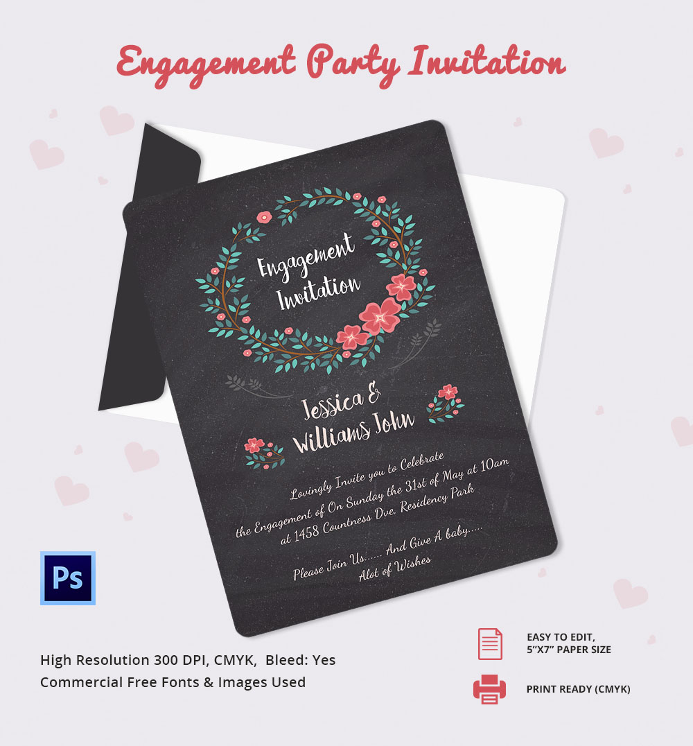 ... Free Printable Engagement Party Invitations: Engagement Invitation  Template ...  Free Engagement Invitation Templates