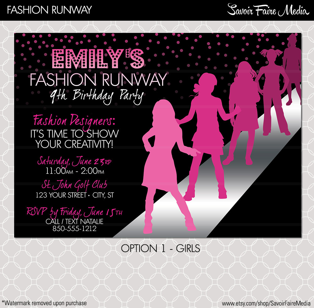 Fashion Show Party Invitations - Mickey Mouse Invitations Templates
