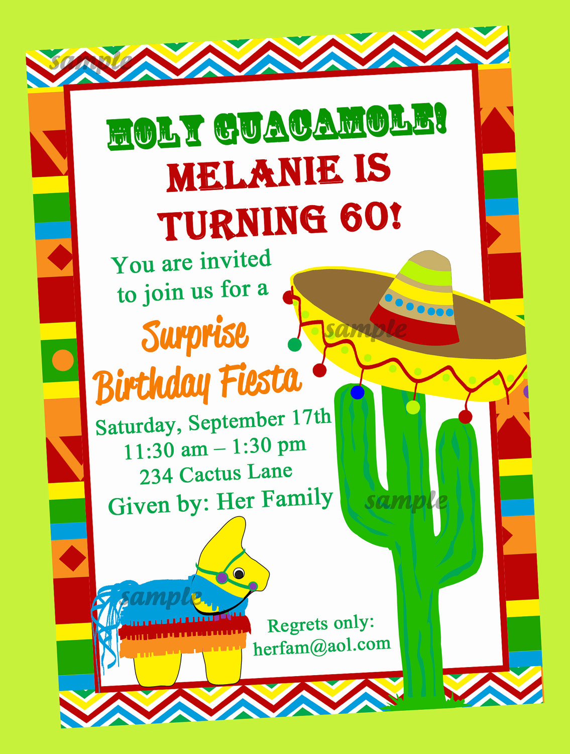 Fiesta Party Invitation Printable Or Printed With Free Shipping