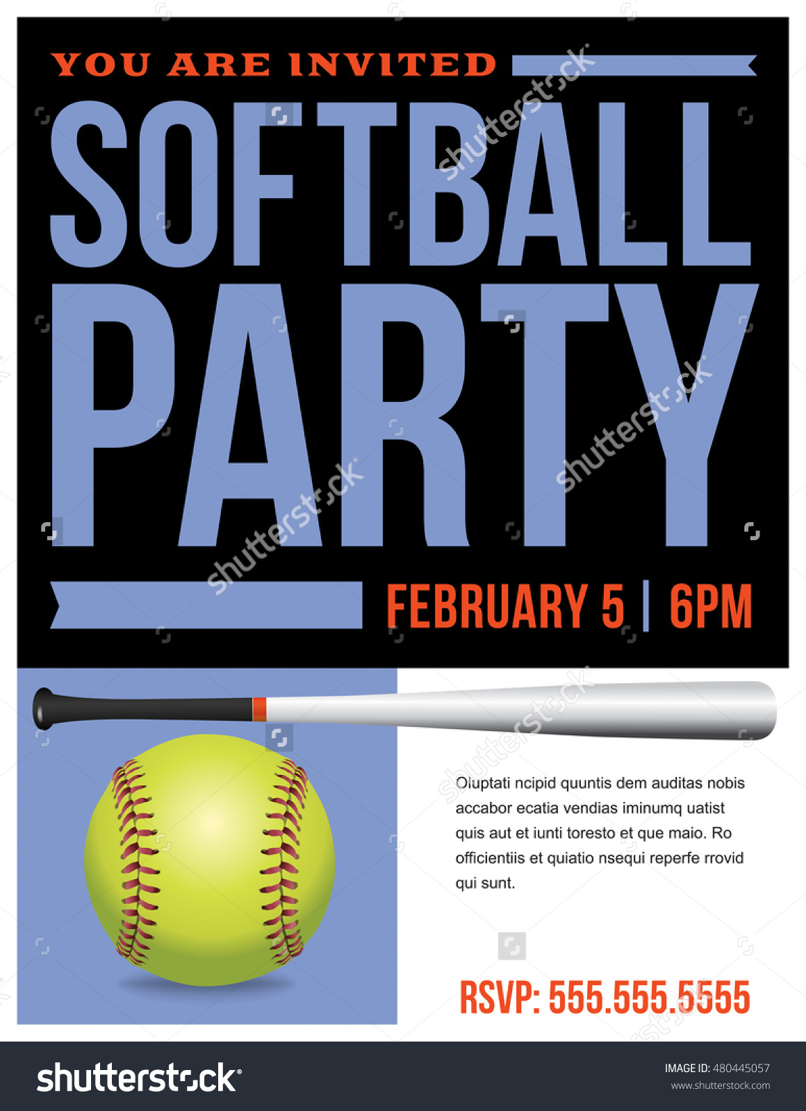 Flyer Softball Party Invitation Template Vector Stock Vector