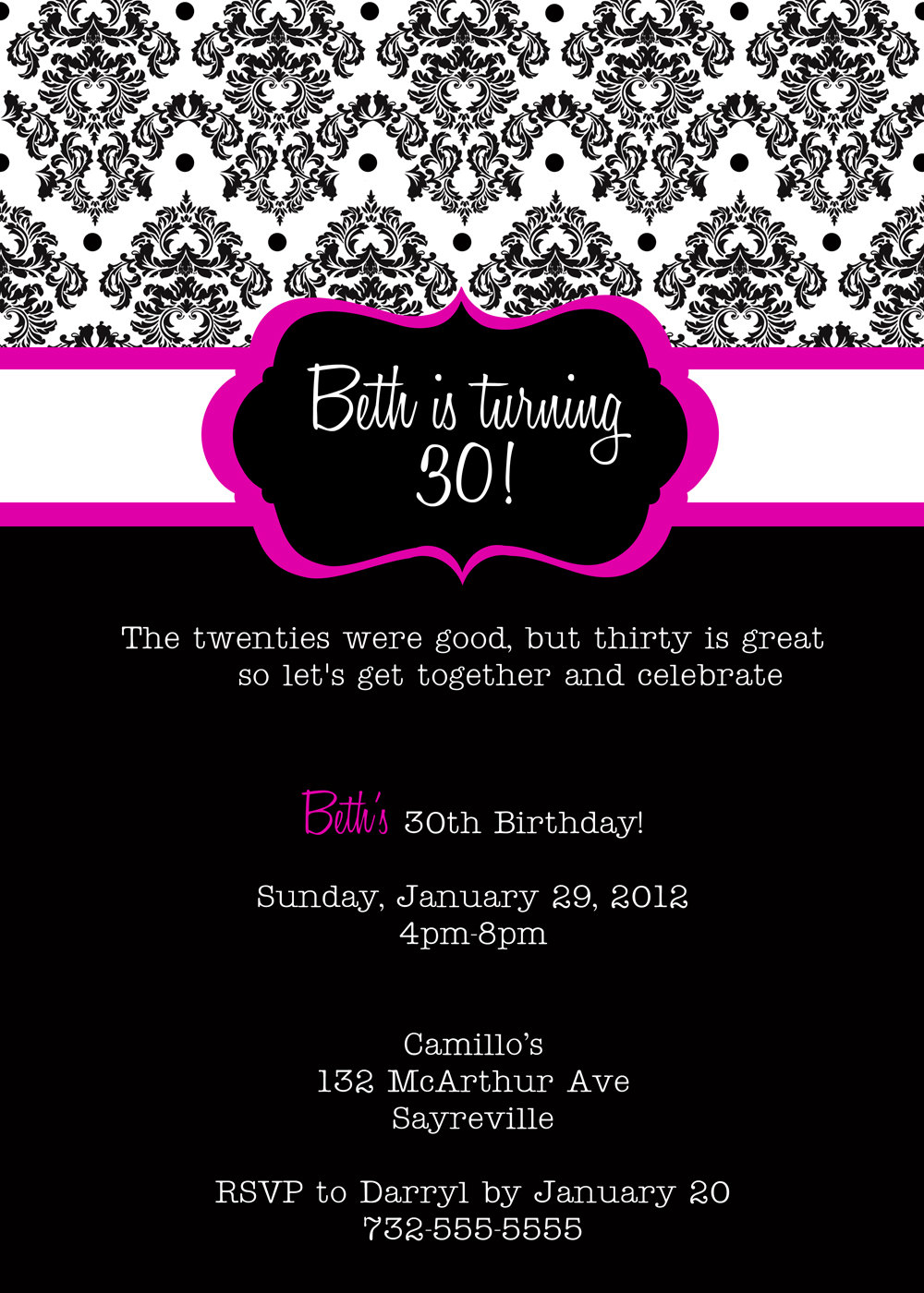 ... Free 30th Birthday Party Invitations Templates ...  Free Birthday Party Invitation Template