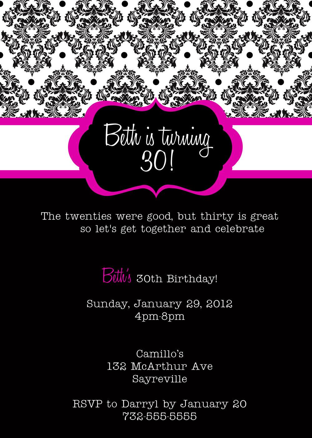 Free 30th Birthday Party Invitations Templates