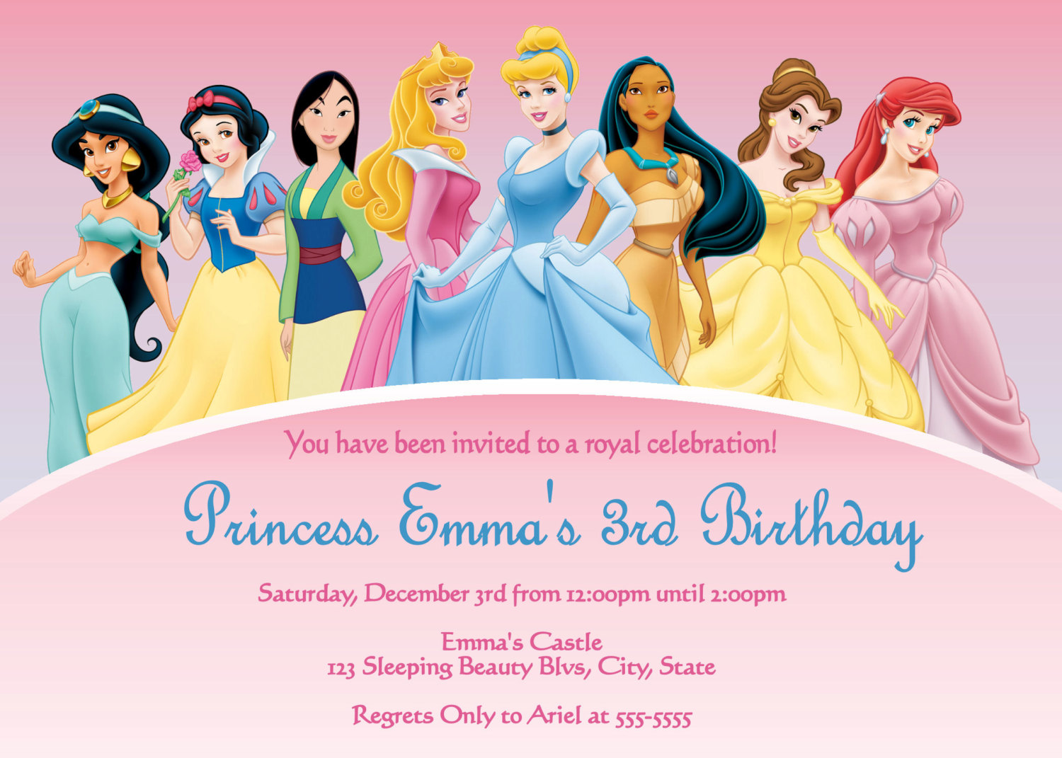 Disney Princess Party Invitations Free - Mickey Mouse Invitations ...