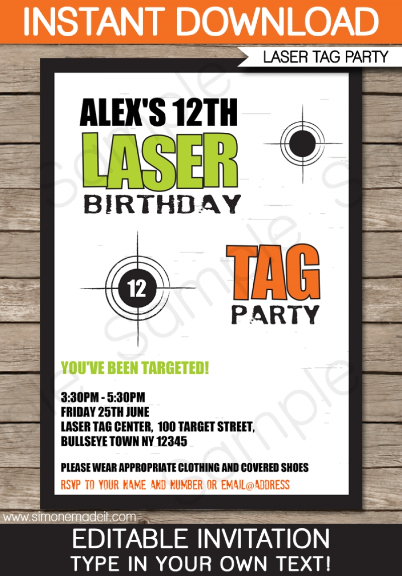 Free Laser Tag Invitation Template