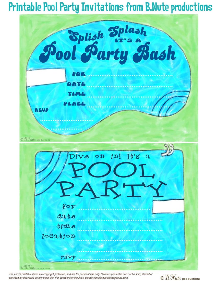 Free Printable Pool Party Invitations