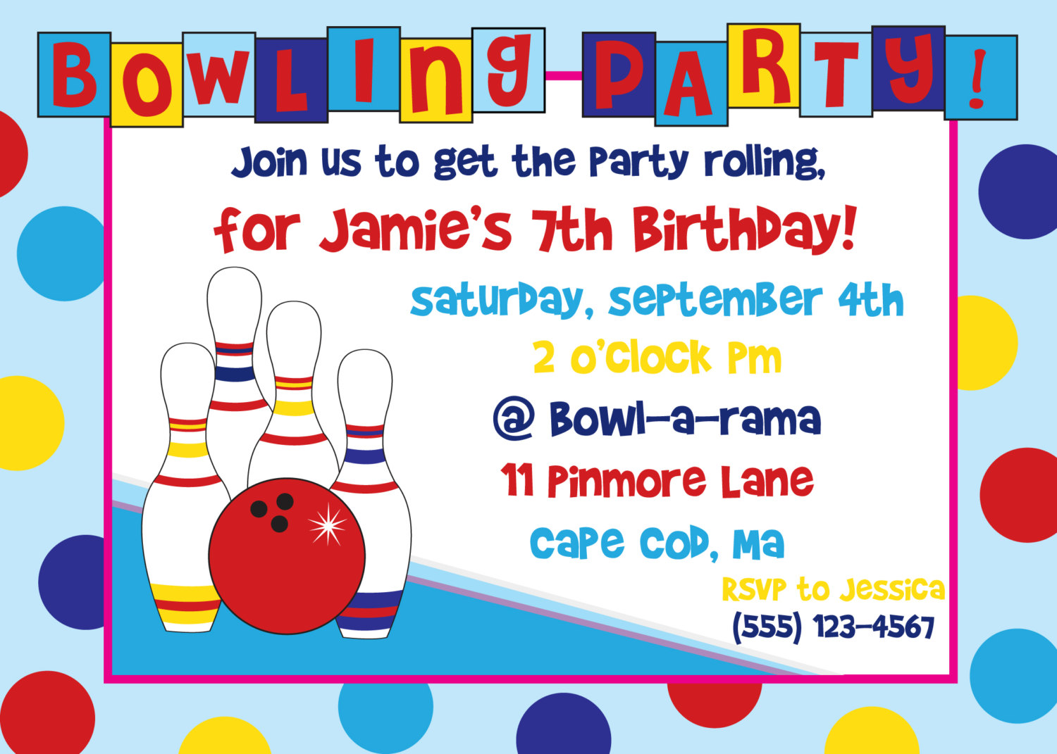 Free Ten Pin Bowling Invitation Templates: Free Printable Bowling Birthday  Invitation Templates ...  Birthday Invitation Free Template