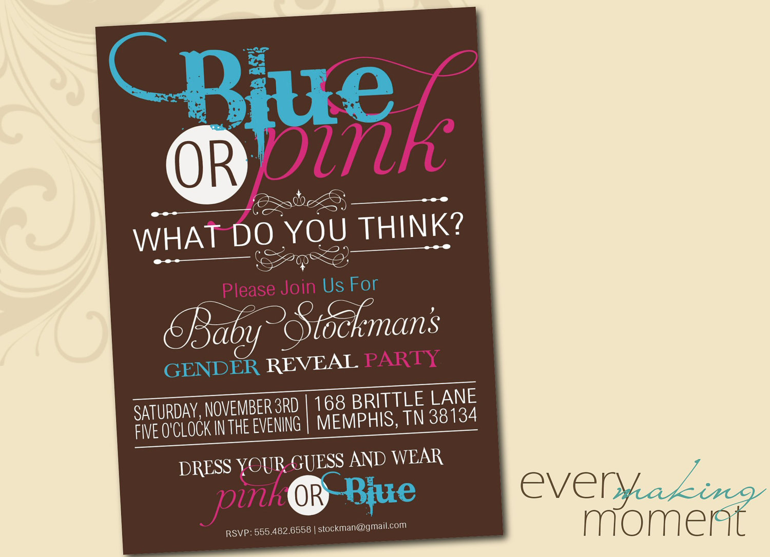 Gender Reveal Party Invitation Wording
