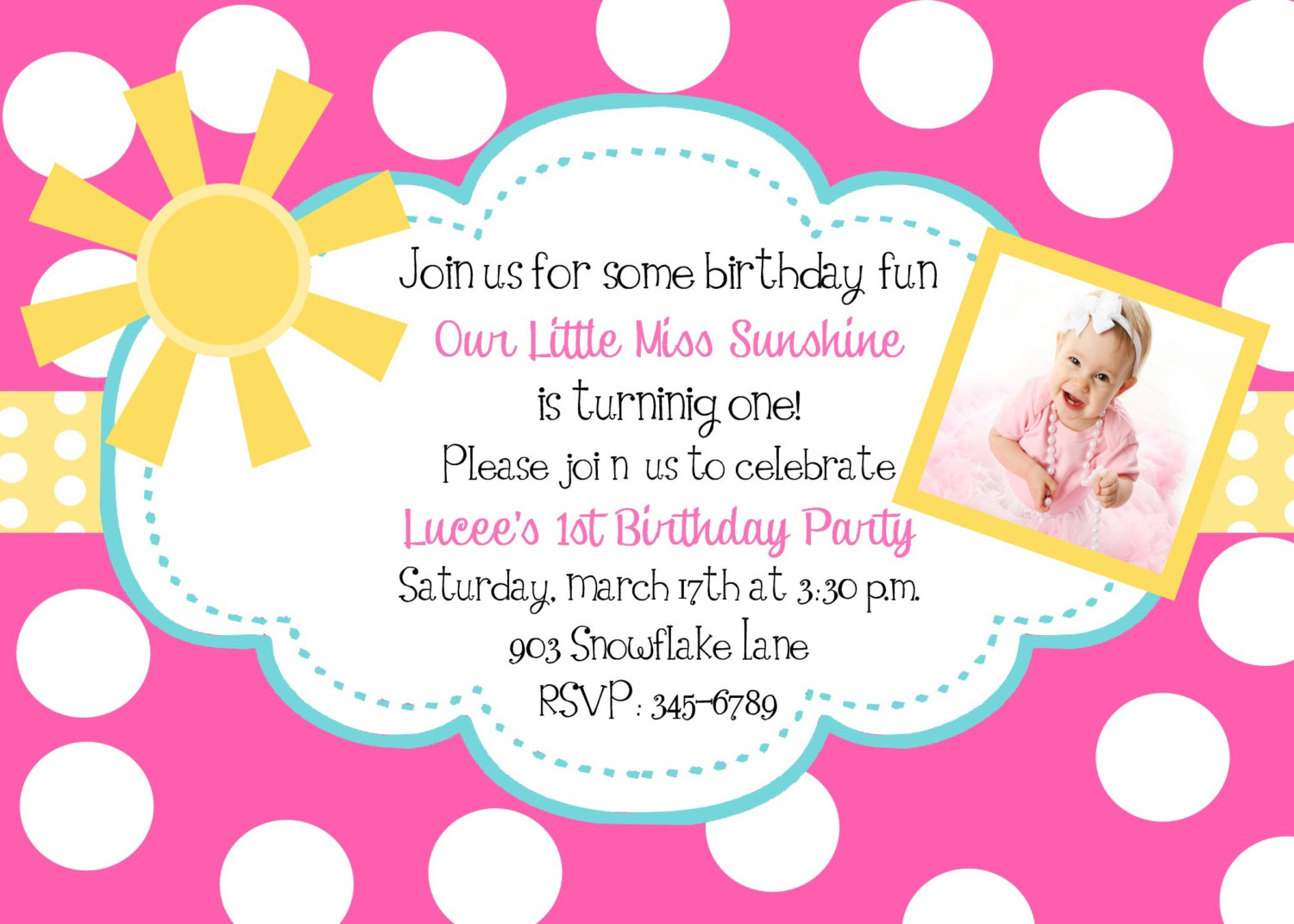 First Birthday Invitation Email Images Baby Shower
